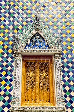 The Golden window in grand palace,Bangkok Thailand photo