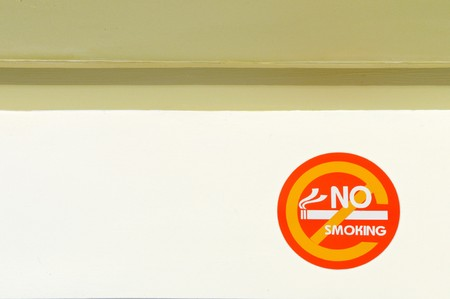 No smoking signs on the yellow wall photo