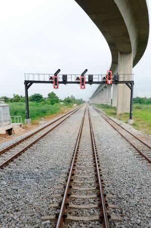 Eastern railway line under the bridge to Airport,Thailand photo