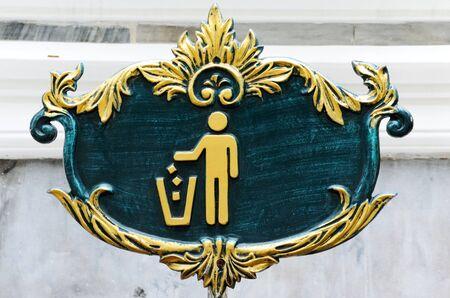 Beautiful trashcan board in the grand palace,Bangkok Thailand photo