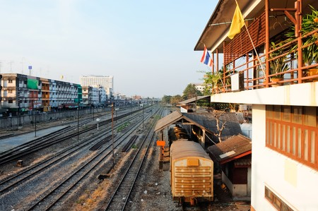 Railway yard of Phitsanuluk station in the evening,Thailand photo