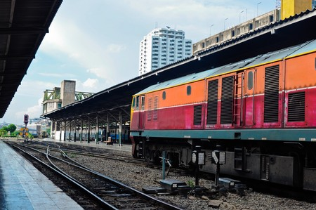 Old diesel electric locomotive leading the train at Bangkok Railway Station Platform,Thailand Stock Photo - 7756814