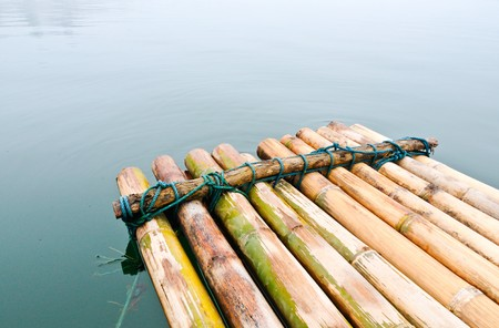 The bamboo rafe on the lake,Kanchanaburi Thailand Stock Photo