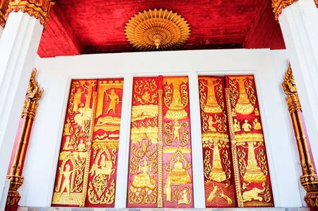 Traditional Thai low relief carvings photo