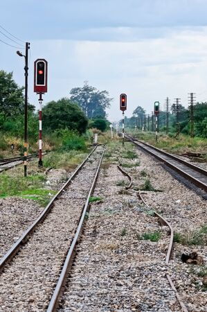 Green signal light in the main rail of southern line,Thailand photo