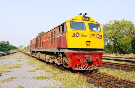 New diesel electric  locomotive in the railway yard of Ubanratchatani station,Thailand Stock Photo - 8627959