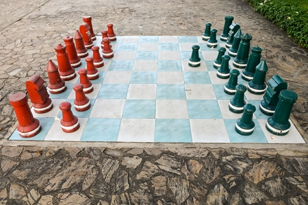 Big size chess on the garden of hotel photo