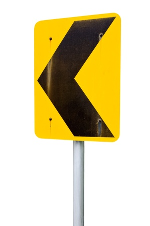 Turn left signs on the white background. Stock Photo