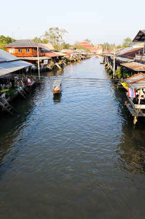 The village of famous floating market in Thailand. photo
