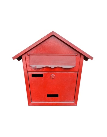 Classical mail box of Thai post on white background photo
