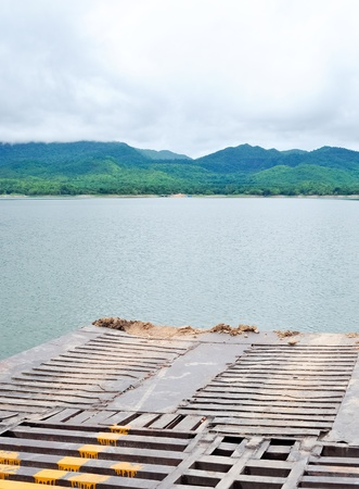 Old ferryboat across the lake go to the national park,Thailand photo