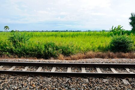Railway in the southern line near the paddy filed,Thailand