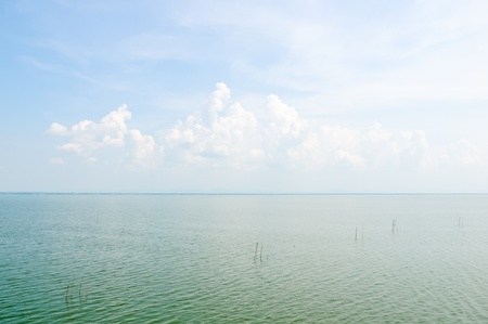 Lonely blue sky on the large lake of reservoir.