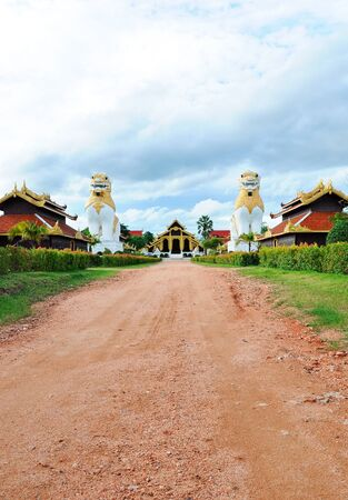 Stone way to the traditional Burma palace in the movie studio.