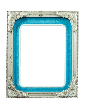 Old silver metal frame on the white background. photo