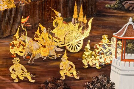 Traditional Thai painting on the wall of grand temple,Thailand. photo