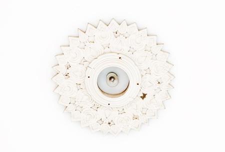 White lotus lantern on white ceiling of Thai pavilion. photo