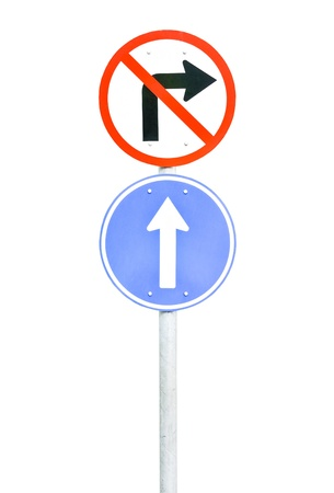 Traffic sign pole on the white background. photo
