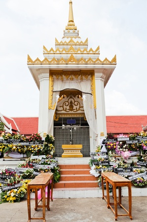 pyre: Traditional Thai crematory in the temple.