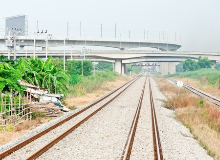 Railway line under the bridge of high speed train to new airport,Thailand photo