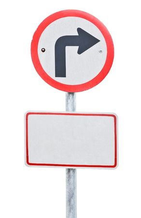 Traffic sign board show the turn right on white background.  photo