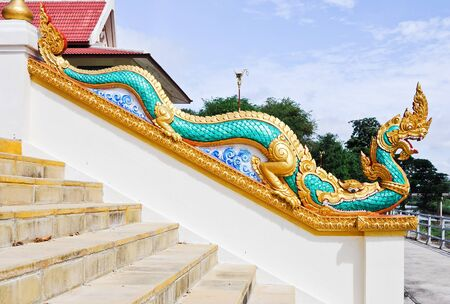 Traditional Thai dragon on white stair to the temple. Stock Photo - 12064930