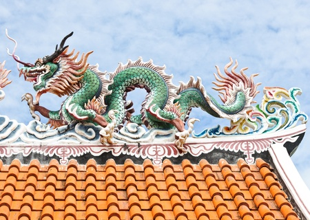 Dragon statue on the Chinese temple roof. photo