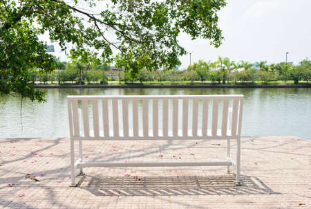 Lonely white bench in the park along the grate lake Stock Photo - 12712467