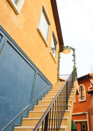 Colorful stairs of the Italian style shop. photo