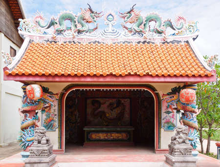 Small shrine in Chinese style of the China town on Thailand. photo