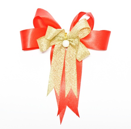 Red ribbon for decorate a gift box on white background. photo