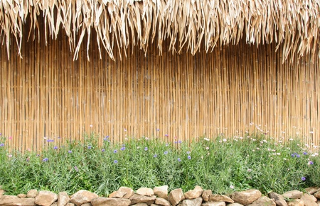 Bamboo wall of the country house in Thailand