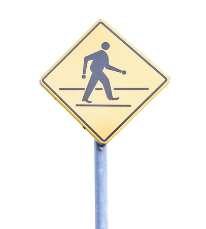 Walk sign pole on the white background  photo