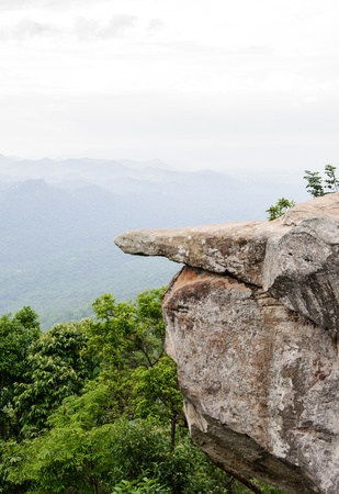 Rock cliff on the forest mountain in national park  Stock Photo