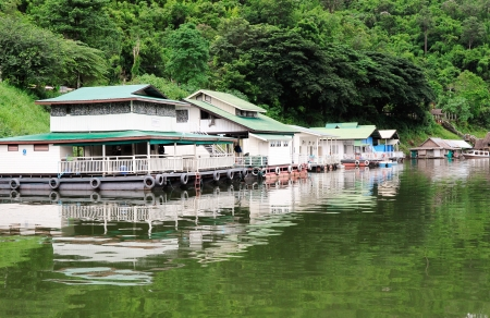 Floating house in  reservior of the dam,Thailand