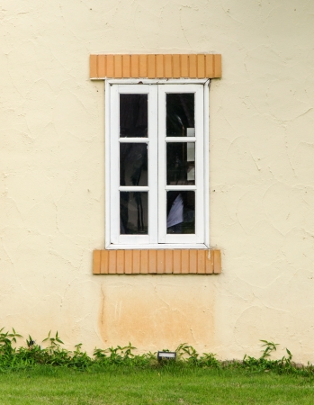 White wooden window of the rural house  photo
