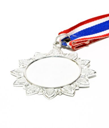 Silver medal for athlete on the white background  Stock Photo - 14756158