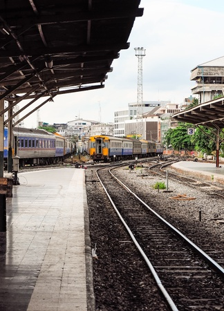 Lonely platform near the railway yard of Bangkok station,Thailand