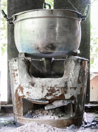 Old stove for cooking in the rural kitchen of Thailand  photo