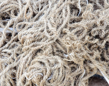 Hemp rope on the ground of construction house  photo