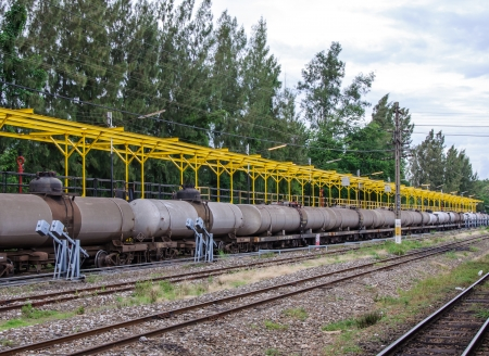 Oil tanker in freight train in the station
