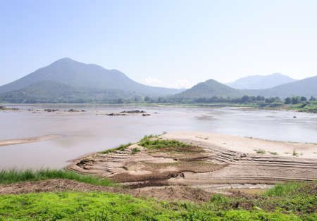 Sand bar in the large river near the border of Thailand  photo
