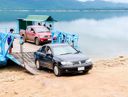 Ferry boat for transport the car and traveler to national park
