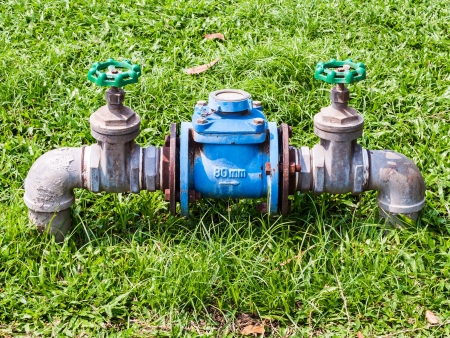 Main water meter of urban park for maintenance the plant