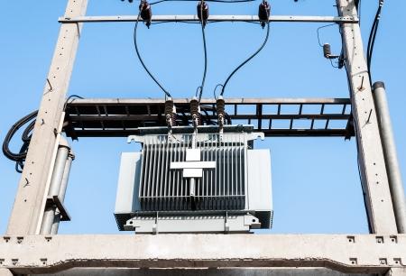 isolator insulator: New transformer unit of the modern office building. Stock Photo