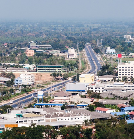 rural town: Main street to the rural town in the central of Thailand  Stock Photo