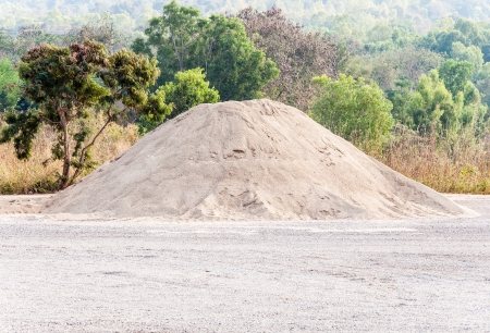 Sand mound for construction on the field of forest  Stock Photo