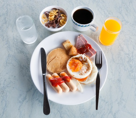 American breakfast style on the table in the morning  photo