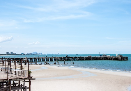 Wooden pier for fishing boat in the southern of Thailand  photo