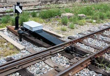 New railroad switch in the urban station of Thailand  photo